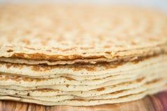 Pancakes stack. Round homemade sweet pancakes stack as dessert Royalty Free Stock Photos