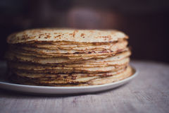 Pancakes. A stack of thin pancakes stock photos