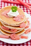 Pancakes with stewed rhubarb Royalty Free Stock Photo