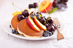 Pancakes with stone fruits Stock Images