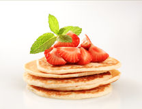 Pancakes and strawberries Royalty Free Stock Image