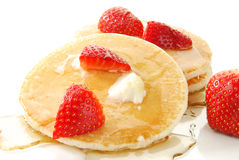 Pancakes and strawberries Royalty Free Stock Images