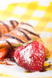 Pancakes with the strawberries Stock Images
