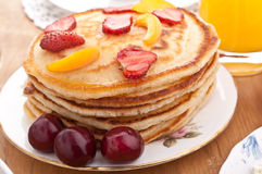 Pancakes with Strawberries Royalty Free Stock Photography