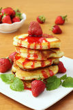 Pancakes with strawberries and jam Stock Photo