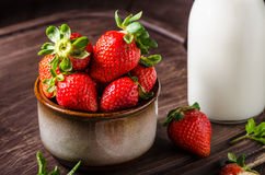 Pancakes with strawberries Royalty Free Stock Images