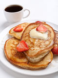 Pancakes with Strawberries and Maple Syrup Stock Photography