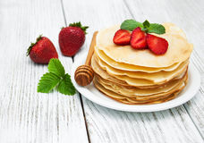 Pancakes with strawberries Stock Image