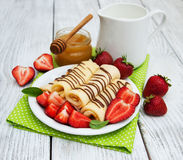 Pancakes with strawberries Stock Photo
