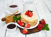 Pancakes with strawberries Royalty Free Stock Photo