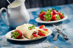 Pancakes with strawberries and whipped Cream royalty free stock photos