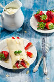 Pancakes with strawberries and whipped cream royalty free stock images