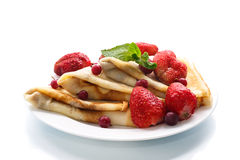 Pancakes with strawberries Stock Photography