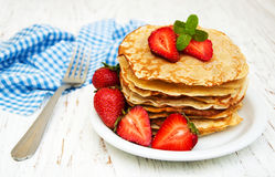 Pancakes with strawberries Royalty Free Stock Image