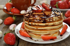 Pancakes with strawberries Royalty Free Stock Photos