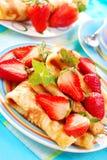 Pancakes with strawberry Stock Photo