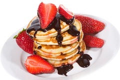Pancakes with strawberry Royalty Free Stock Image