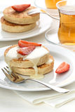 Pancakes and strawberry Royalty Free Stock Photography