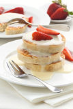 Pancakes and strawberry Stock Images