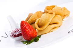 Pancakes with a strawberry Royalty Free Stock Photos
