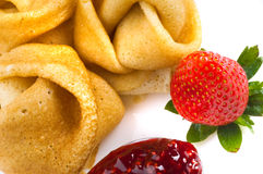 Pancakes with a strawberry Royalty Free Stock Images