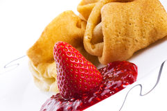 Pancakes with a strawberry Stock Image
