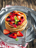 Pancakes with strawberry and balsamic sauce Royalty Free Stock Images