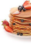 Pancakes with strawberry and blueberries Royalty Free Stock Photos