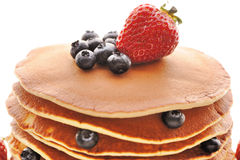 Pancakes with strawberry and blueberries Royalty Free Stock Image