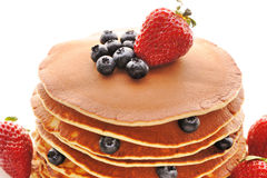 Pancakes with strawberry and blueberries Royalty Free Stock Photo