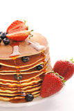 Pancakes with strawberry and blueberries Stock Photos