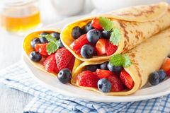 Pancakes with strawberry blueberry Royalty Free Stock Photo