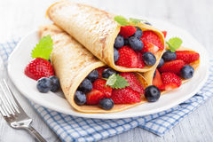 Pancakes with strawberry blueberry Royalty Free Stock Image