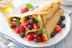 Pancakes with strawberry blueberry Stock Photo