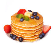 Pancakes with Strawberry and Blueberry isolated Royalty Free Stock Photo