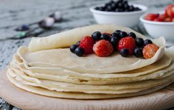 Pancakes with strawberry and blueberry Stock Photo