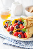 Pancakes with strawberry blueberry Royalty Free Stock Images