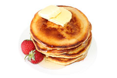 Pancakes with strawberry and butter (image with clipping path) Royalty Free Stock Photos