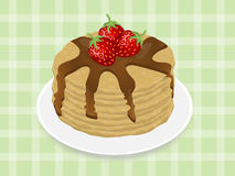 Pancakes with strawberry and chocolate syrup. On the green tablecloth Royalty Free Stock Image