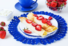 Pancakes with strawberry and cottage cheese Royalty Free Stock Images