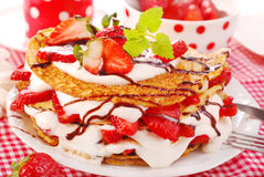 Pancakes with strawberry and cream Royalty Free Stock Photography