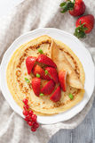 Pancakes with strawberry Stock Photography