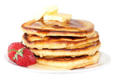 Pancakes with strawberry (image with clipping path) Stock Photography