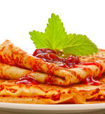 Pancakes with strawberry jam Stock Photo