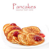 Pancakes with strawberry jam Royalty Free Stock Photo