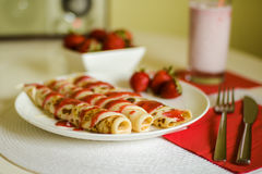 Pancakes with strawberry jam Royalty Free Stock Photography