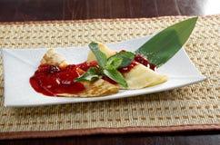 Pancakes with strawberry jam Royalty Free Stock Photo