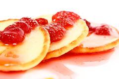 Pancakes with strawberry jam Stock Photography
