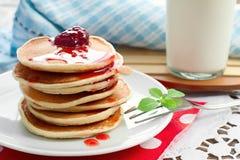 ,  pancakes with strawberry jam Stock Photo