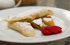 Pancakes with strawberry Stock Photos
